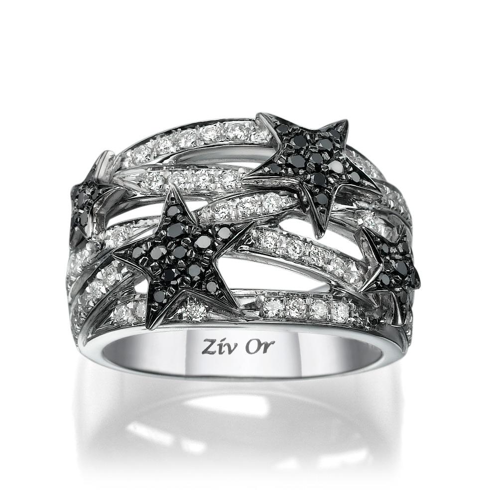 טבעת כוכבים משובצים יהלום שחור