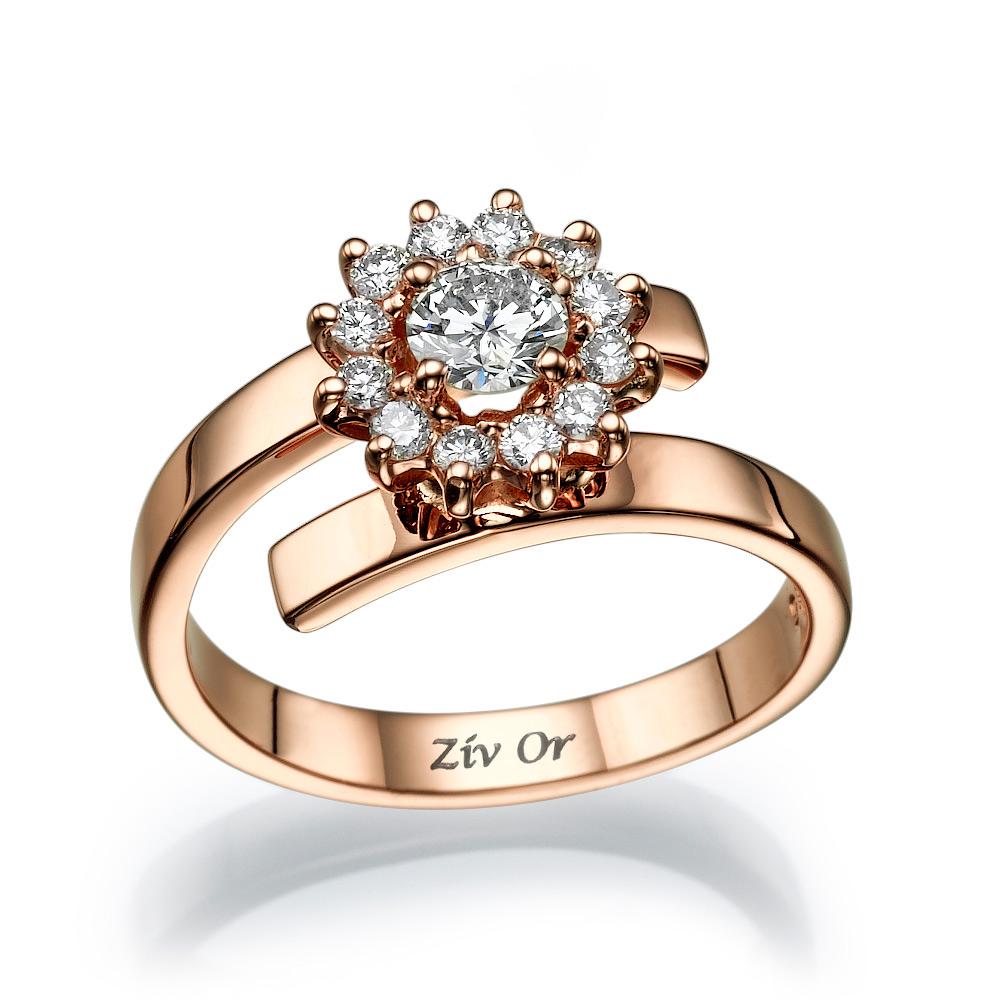טבעת אירוסין עשויה זהב אדום