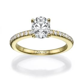 טבעת סוליטייר עדינה עם יהלומים
