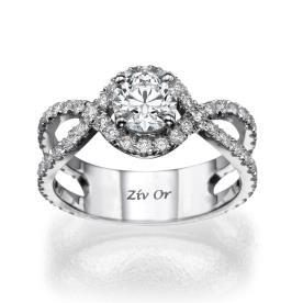 טבעת אירוסין קלועה יהלומים