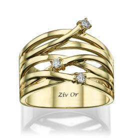טבעת נישואין עדינה בעיצוב רחב