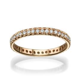 טבעת משובצת עשויה זהב אדום