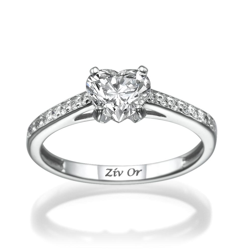 טבעת יהלום בצורת לב