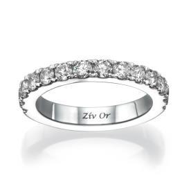 טבעת נישואין צרה משובצת