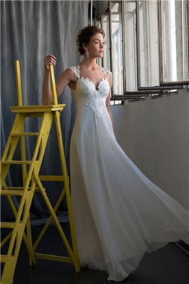 שמלת כלה משיפון ותחרה