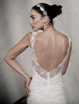 שמלת כלה גב מוקף תחרה וכיווצים