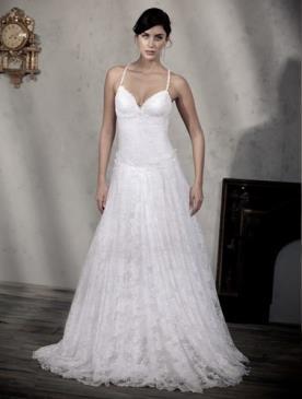 שמלת כלה מתרחבת מהמותן תחרה