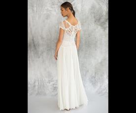 שמלת כלה גב תחרה שיפון וכפתורים