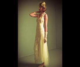 שמלת כלה אלגנטית כתפיות פפיון