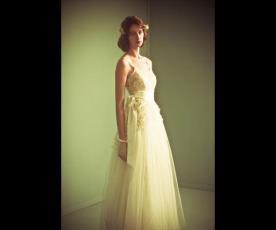 שמלת כלה וינטג' חגורת פפיון סאטן