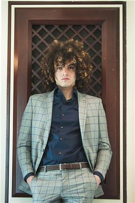 חליפת חתן: חליפה בצבע ירוק, חליפת שני חלקים, חליפה בגזרה ישרה, חליפה בדוגמה משובצת - חליפות חתן - פיגל