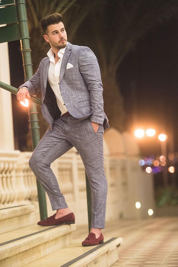חליפת חתן: חליפה בצבע תכלת, חליפת שני חלקים, חליפה בגזרה ישרה, חליפה בדוגמה חלקה - חליפות חתן - פיגל