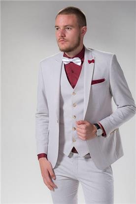 חליפת חתן: חליפת שלושה חלקים, חליפה בגזרה ישרה, חליפה בדוגמה חלקה, חליפה בצבע קרם - יומה- YOMA