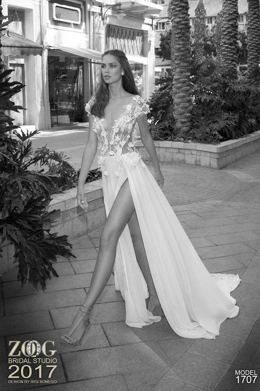 שמלת כלה רשת עם פרחים