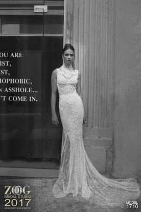 שמלת כלה תחרה צווארון גבוה