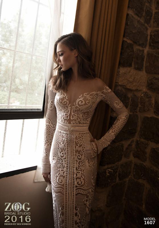 שמלת כלה קרם אוף שולדר