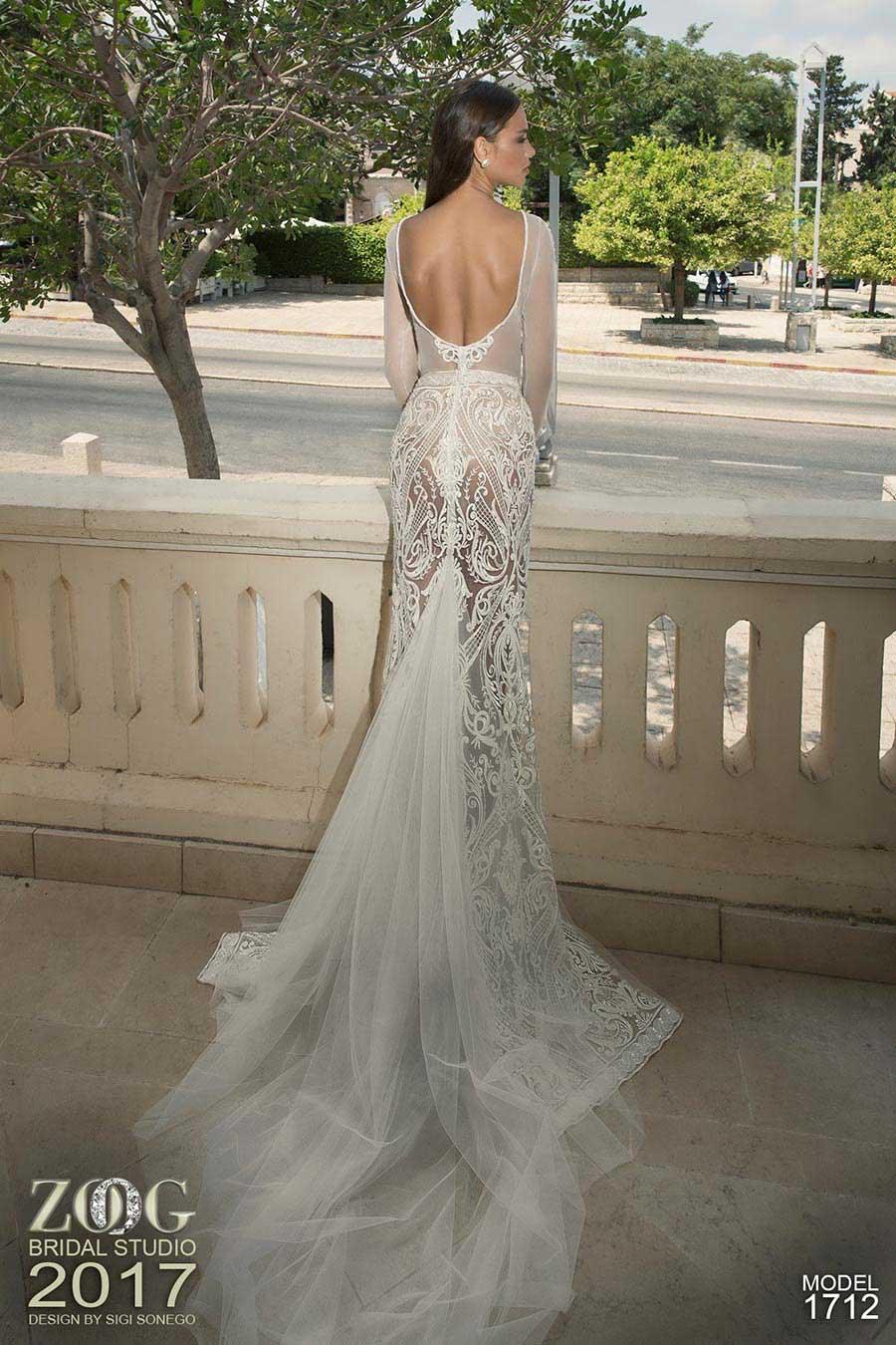 שמלת כלה שרוולים ארוכים ושובל