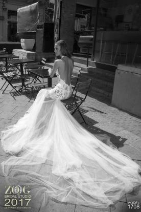 שמלת כלה עם שובל טול דק