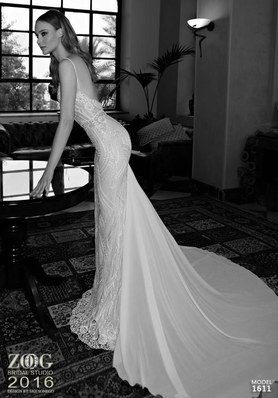 שמלת כלה תחרה ושובל שיפון