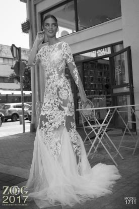 שמלת כלה תחרה פרחונית וטול