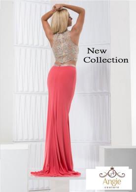 שמלת ערב חצאית ורודה וטופ כסף