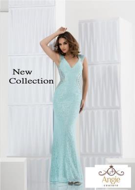 שמלת ערב תכלת עם חרוזים