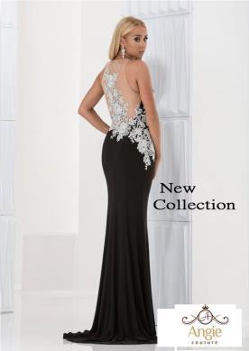 שמלת ערב שחורה עם שובל קצר