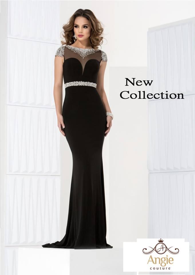 שמלת ערב שחורה עם חרוזים