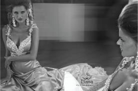 שמלת ערב סאטן משובצת יהלומים