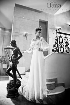 שמלת כלה סתיווית עם שרוול ארוך