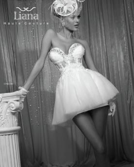 שמלת כלה מיני עם מחוך משובץ