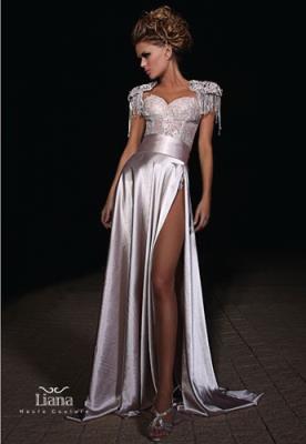 שמלת ערב סאטן רומנטית עם שסע