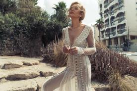 שמלת כלה מקסי מחורזת שקופה