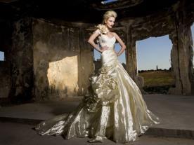 שמלת כלה בצבע זהב