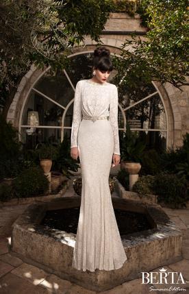 שמלת כלה צנועה חגורה זהובה
