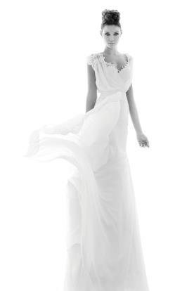 שמלת כלה טופ משי כיווצים