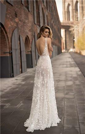 שמלת כלה או ערב: שמלה בסגנון קלאסי, שמלה עם גב חשוף, שמלה בצבע לבן - ברטה BERTA