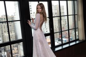 שמלת כלה ורודה משי סאטן מחורז
