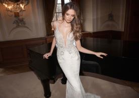 שמלת כלה דוגמת חרוזים שמפניה