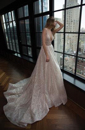 שמלת כלה ורודה טול נוצץ