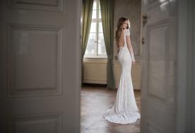 שמלת כלה גב חשוף שרוול חצוי