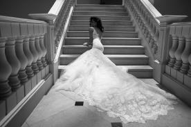 שמלת כלה שובל ארוך שכבות טול