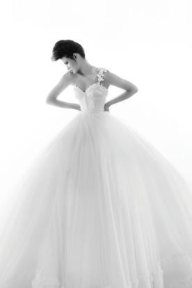 שמלת כלה נפוחה כתפיה אחת