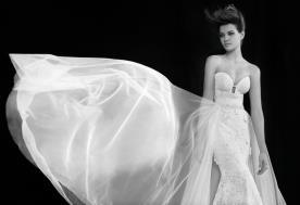 שמלת כלה טול מכווץ בצדדים