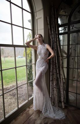 שמלת כלה שובל תחרה מקסי