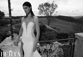 שמלת כלה לבנה כתפיות עבות