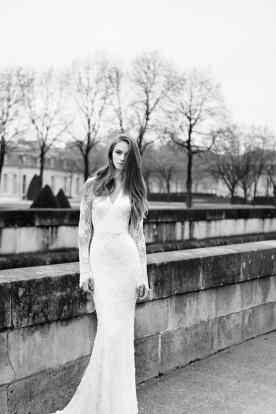 שמלת כלה לבנה מחורזת