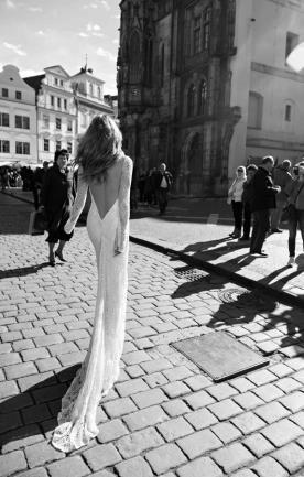 שמלת כלה בוהו שובל צר