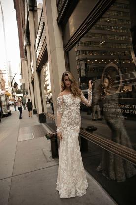 שמלת כלה שרוולים שמוטים מקסי