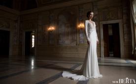 שמלת כלה או ערב: שמלת פעמון, שמלה עם חגורה במותן, שמלה בסגנון רומנטי, שמלה בסגנון קלאסי, שמלה בסגנון עדין, שמלה עם תחרה, שמלת משי, שמלה עם מחשוף, שמלה עם שובל, שמלה עם שרוולים, שמלה בצבע לבן, שמלה בצבע שמנת, שמלת מקסי - ברטה BERTA